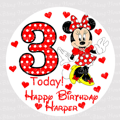 Disney Minnie Mouse 1st, 2nd, 3rd Birthday Round Edible Icing Sheet Cake Decor Topper