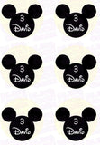 Disney Mickey Mouse Silhouette Inspired Edible Icing Cupcake or Cookie Decor Toppers - MMS1