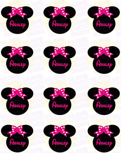 Disney Minnie Mouse Pink Bow Silhouette Inspired Edible