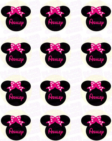 Disney Minnie Mouse Silhouette Inspired Edible Icing Cupcake or Cookie Decor Toppers - MMS3