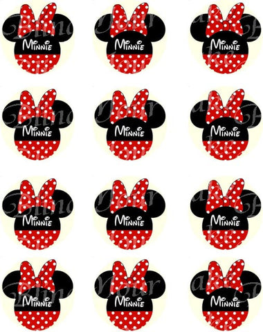 Disney Minnie Mouse Red Polka Dot Silhouett Edible Icing Cupcake or Cookie Decor Toppers