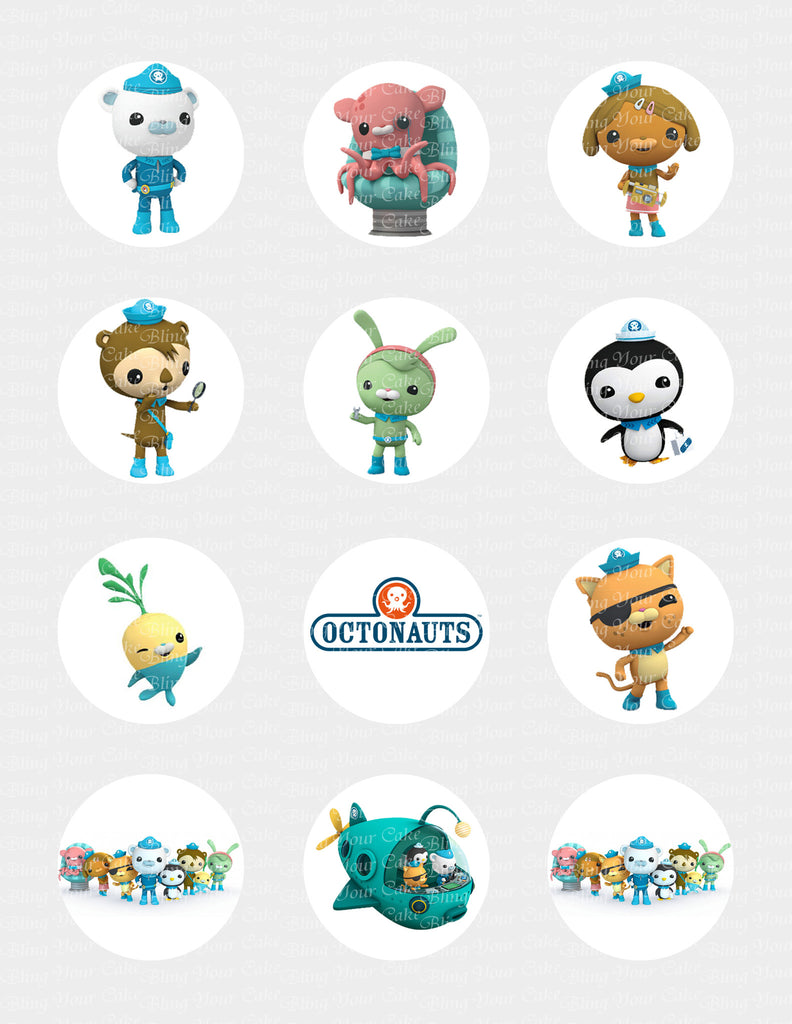 The Octonauts Character Inspired Edible Icing Cupcake Decor Toppers - OCT2