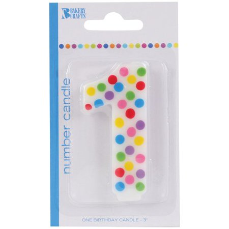 Numeral 1 First Birthday Polka Dot Party Candle