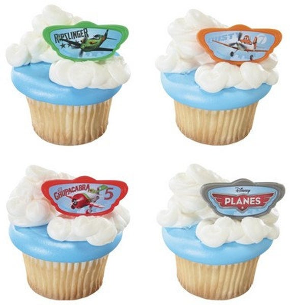 24 Disney Planes Cupcake Topper Rings