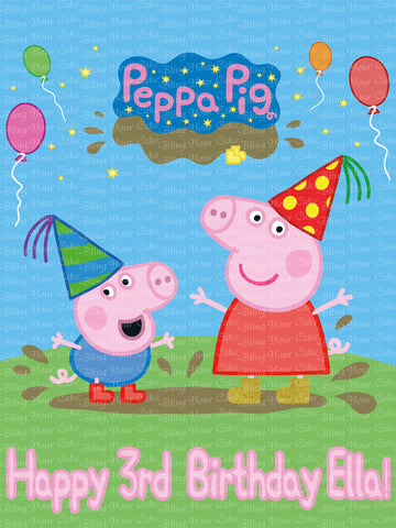 Peppa Pig & George Edible Icing Sheet Cake Decor Topper