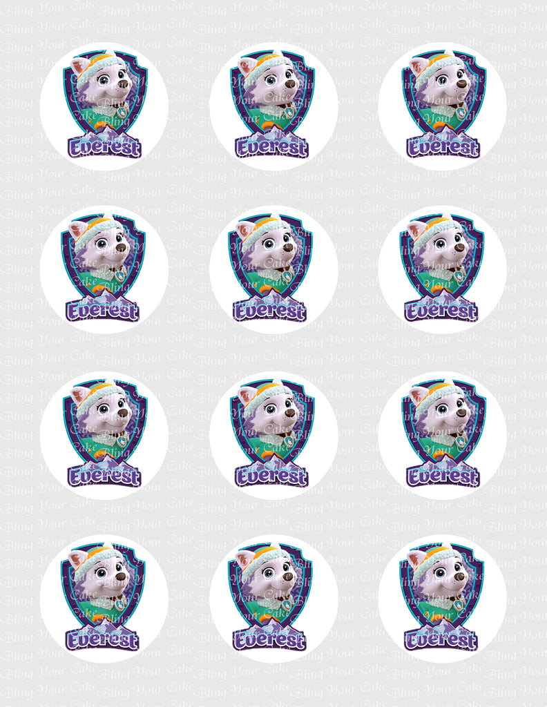 Paw Patrol Everest Shield-Inspired Edible Icing Cupcake or Cookie Decor Toppers - PP4