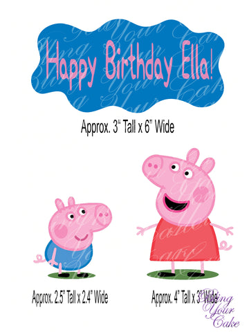 Peppa Pig & George Edible Icing Cake Decor Topper - PP5