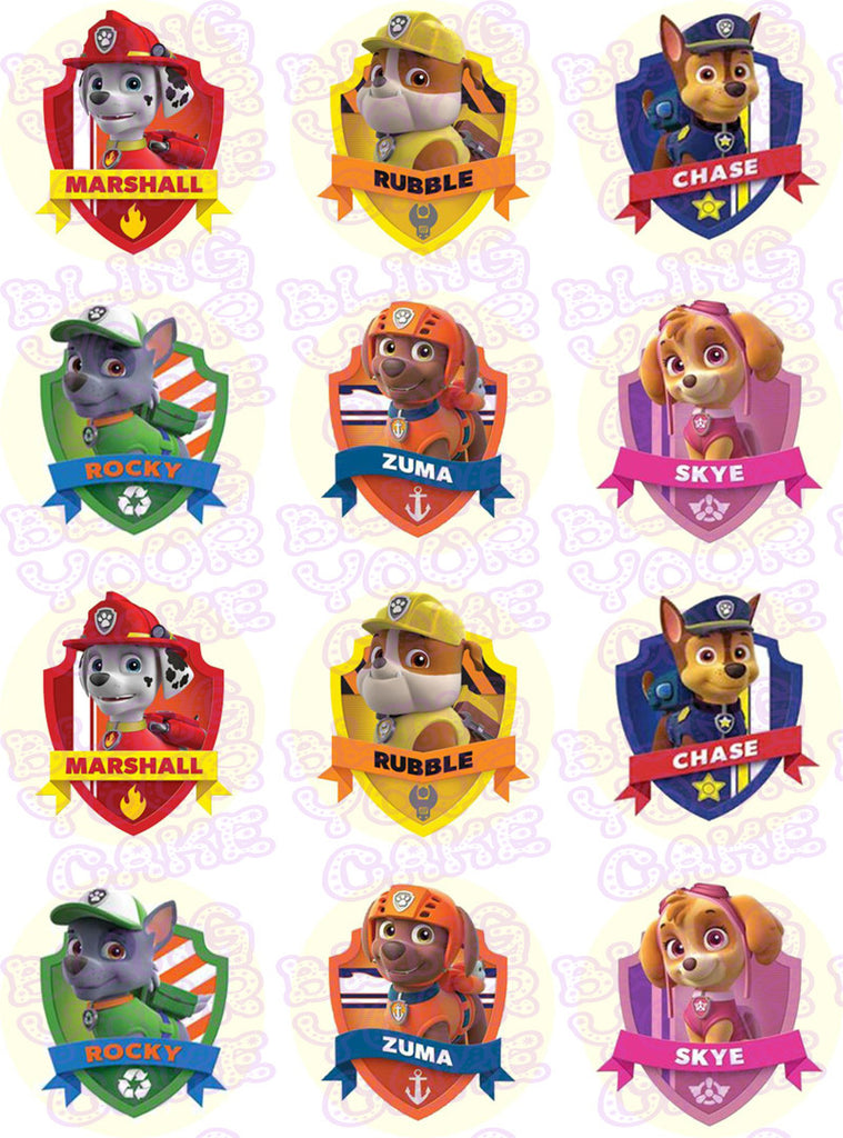 Paw Patrol Shield-Inspired Edible Icing Cupcake or Cookie Decor Toppers - PP2