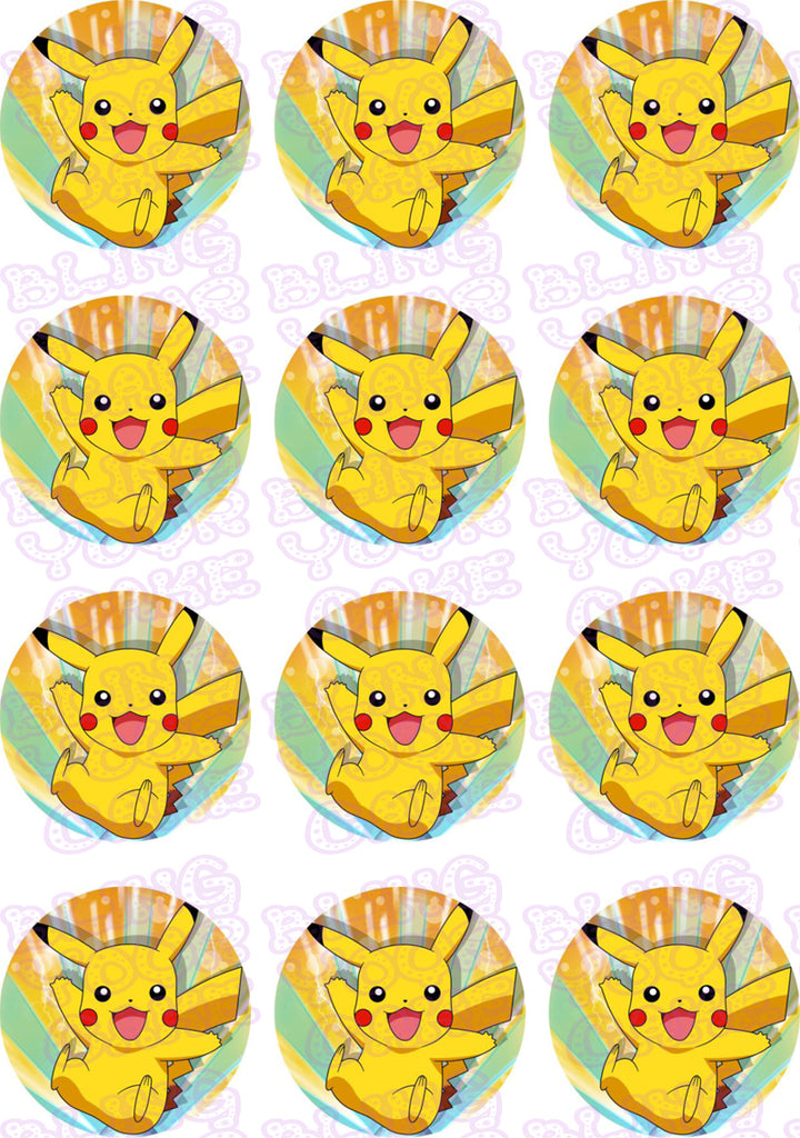 Pokemon Pikachu Edible Icing Cupcake or Cookie Decor Toppers - PKM4