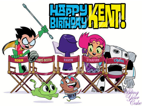 Teen Titans Go to the Movies Edible Icing Sheet Cake Decor Topper - TTG1