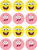 SpongeBob & Patrick Face Edible Icing Sheet Cake Decor Topper