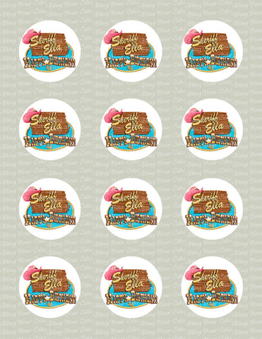 Sheriff Callie Logo Inspired Edible Icing Cupcake or Cookie Decor Toppers - SC1