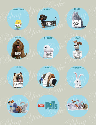 Secret Life of Pets Edible Icing Sheet Cupcake Decor Topper - SLP2