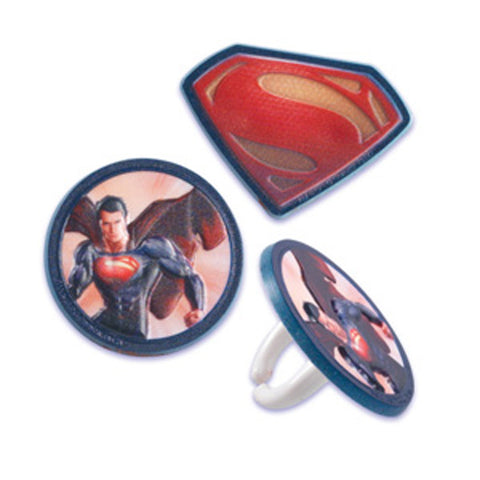24 Superman Man of Steel Cupcake Topper Rings