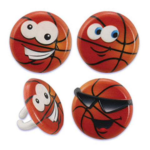 24 Basketball Character Cupcake Topper Rings