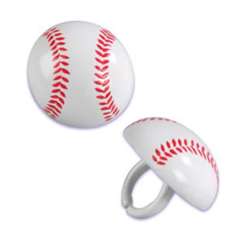 24 Baseball Cupcake Topper Rings