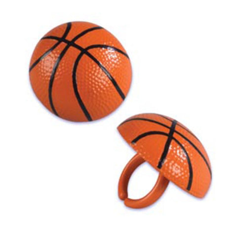 24 Basketball Cupcake Topper Rings