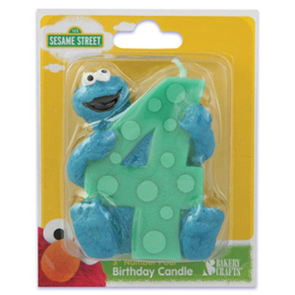 Sesame Street Cookie Monster 4th Birthday Candle