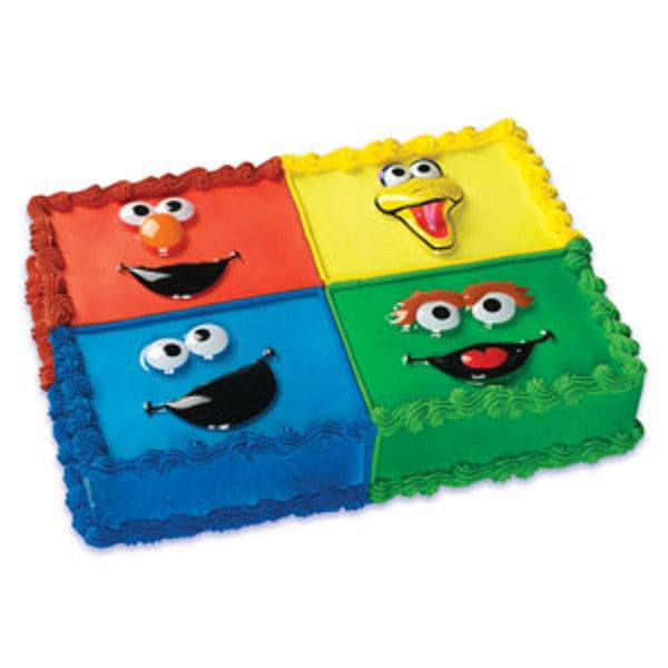 Sesame Street Elmo, Big Bird, Cookie Monster & Oscar the Grouch Faces Pop Top Cake Topper Decor Set