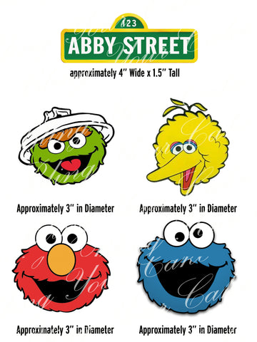 Sesame Street Elmo, Big Bird, Cookie Monster & Oscar the Grouch Edible Icing Cake Decor Topper - SS10