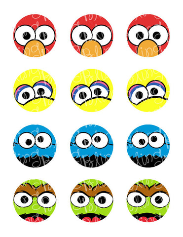 Sesame Street Fab Four Close Up Character Inspired Edible Icing Cupcake Decor Toppers - SS3C