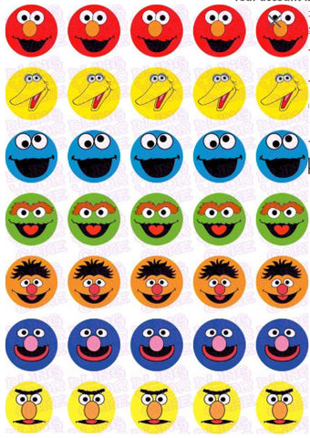 Sesame Street Edible Icing Mini-Cupcake, Brownie Bites, Cake Pops, Cookie Decor Topper