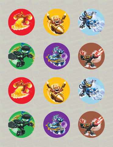 Skylanders Swap Force Inspired Edible Icing Cupcake Decor Toppers Set 1 - SSF1