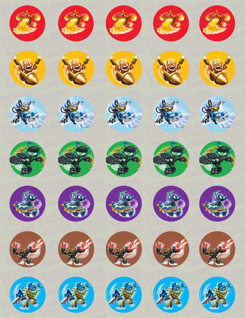 Skylanders Swap Force Inspired Edible Icing Mini-Cupcake, Brownie Bites, Cake Pops and Cookie Decor Toppers - SSF5