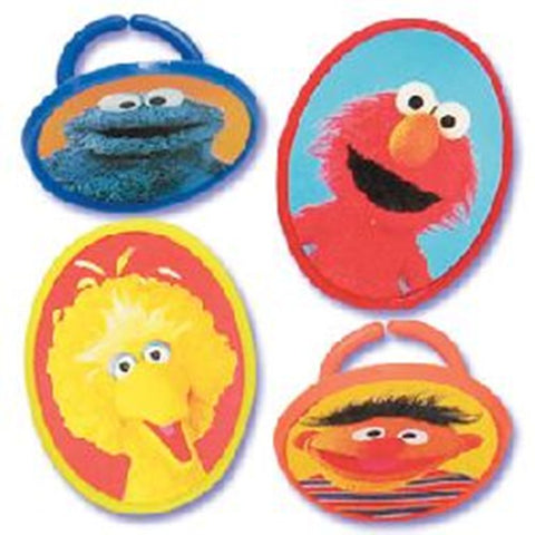 24 Sesame Street Big Bird, Cookie Monster, Elmo and Ernie Cupcake Topper Rings