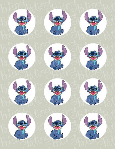 Disney Stitch Edible Icing Cupcake or Cookie Decor Toppers - STH1