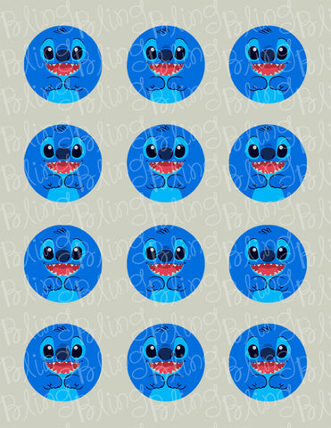 Disney Stitch CloseUp Edible Icing Cupcake or Cookie Decor Toppers - STH2