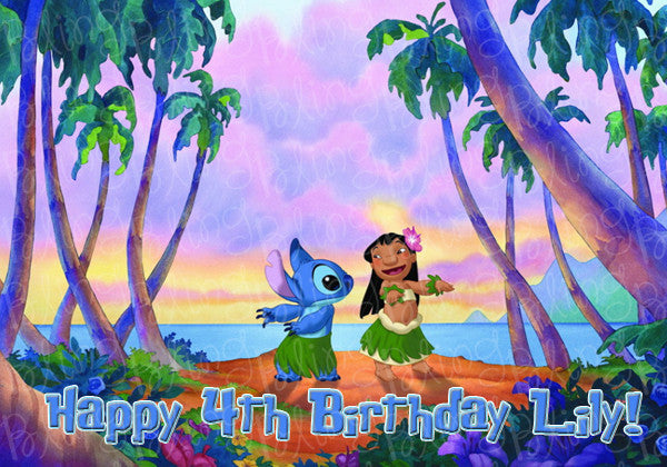 Disney Lilo & Stitch Hula Edible Icing Sheet Cake Decor Topper - STH3