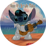 Disney Elvis Stitch Edible Icing Sheet Cake Decor Topper - STH4