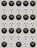 Star Wars Darth Vader and/or Storm Trooper Helmet Edible Icing Cupcake Decor Toppers
