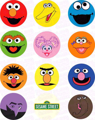 Sesame Street Closeup Character Inspired Edible Icing Cupcake Decor Toppers - SS1C