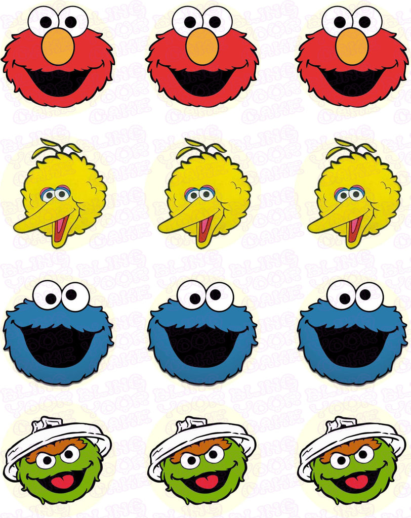 Sesame Street Fab Four Character Inspired Edible Icing Cupcake Decor Toppers - SS2C