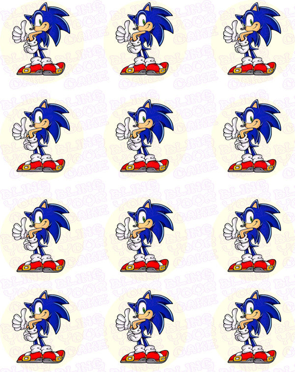 Sonic the Hedgehog Edible Icing Cupcake Toppers – Bling ...