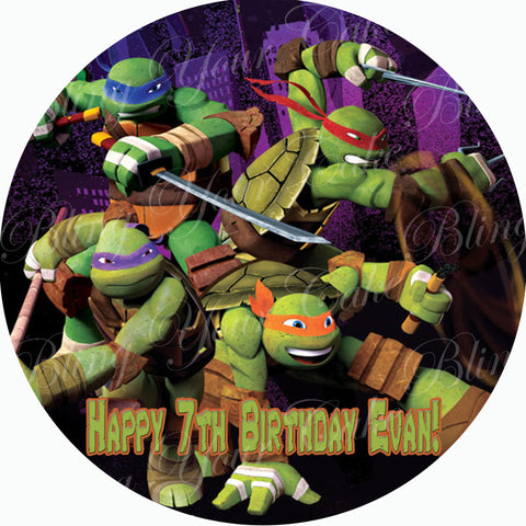 Teenage Mutant Ninja Turtles TMNT Inspired Edible Icing Round Cake Decor Toppers - TMNT10