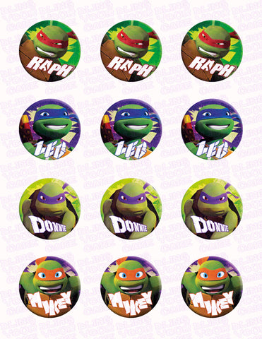 Teenage Mutant Ninja Turtles TMNT Inspired Edible Icing Cupcake Decor Toppers - TMNT5