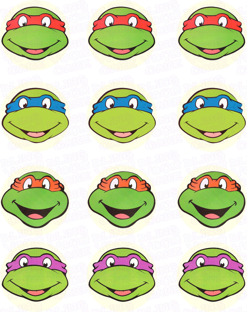 Teenage Mutant Ninja Turtles TMNT Face Edible Icing Cupcake Decor Toppers - TMNT1