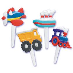 24 Transportation (Plane, Train, Ship & Truck) Cupcake Picks