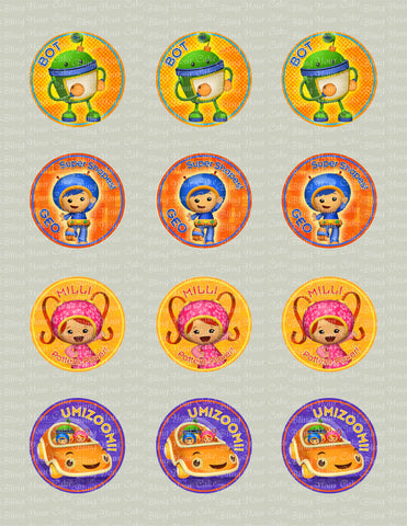 Team Umizoomi Inspired Edible Icing Cupcake Decor Toppers - TUZ2