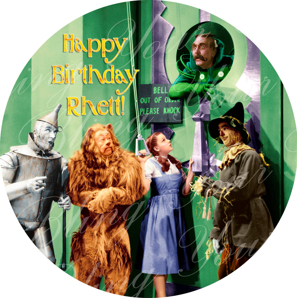The Wizard of Oz Dorothy & Friends Who Rang that Bell? Round Edible Icing Sheet Cake Decor Topper