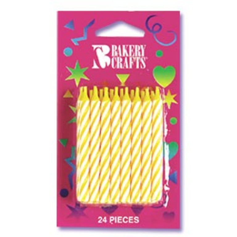 Yellow Striped Spiral Candles