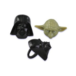 12 Star Wars Darth Vader and Yoda Cupcake Topper Rings