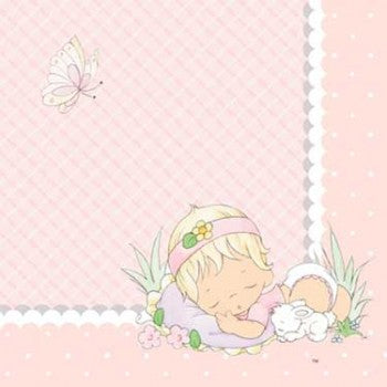 Precious Moments Pink Baby Girl Beverage Napkins