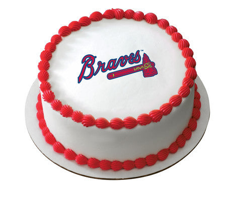 MLB Atlanta Braves Logo Edible Icing Sheet Cake Decor Topper