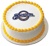 MLB Milwaukee Brewers Logo Edible Icing Sheet Cake Decor Topper