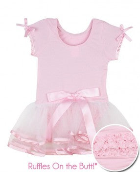 RuffleButts Short Sleeve Pink & White Tutu Leotard - 12-24m