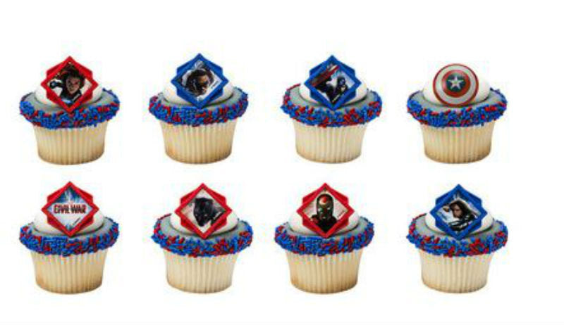 24 Captain America Divided Civil War Cupcake Topper Rings